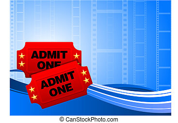 Movie tickets on film background