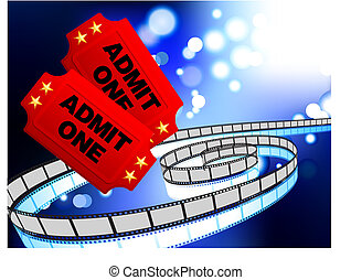 Movie Tickets with film reel internet background - Original...
