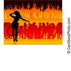 Party in hell with she devil - Original Vector Illustration...