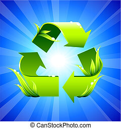 Recycling sign on glowing background - Original Vector ...
