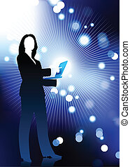Original Vector Illustration: businesswoman holding computer laptop with fiber optic internet background