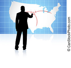 Young business man drawing on world map