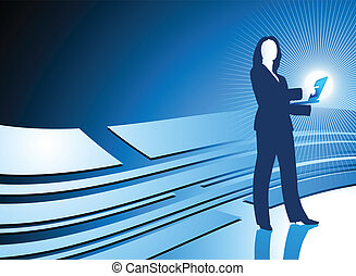 Young business woman Internet Digital Background