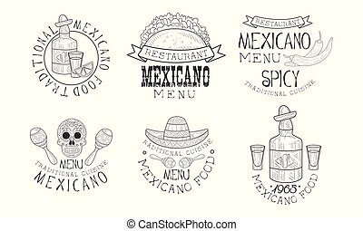 Original vector Mexican logos for restaurants. Monochrome emblems with traditional food and drink, maracas and skull
