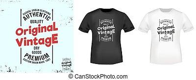 original, vendange, chemise t, impression, stamp., vecteur, illustration.
