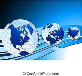 original, vetorial, ilustração, globos, e, mapas, ideal, para, conceitos negócio