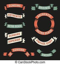 Original vintage ribbons for logos