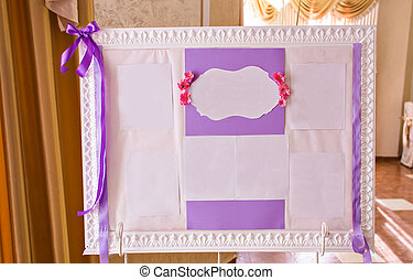 Original vintage white board with purple decoration  and a guest list