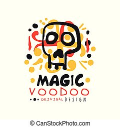 original, voodoo, africano, e, americano, magia, logotipo,...