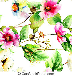 Original watercolor illustration with flowers, seamless ...