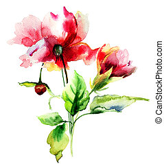 Original watercolor illustration with flowers