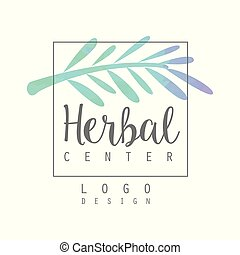 Original watercolor logo with branch of medicinal plant. Alternative medicine and wellness. Vector design element for herbal store or packaging of eco product