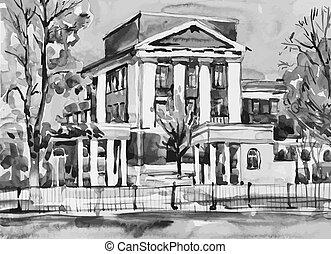 original watercolor painting of kiev building, ukraine,...