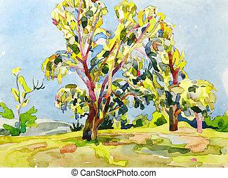 original watercolor painting of summer tree