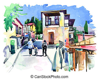 original watercolor painting on paper of old street in Gurzuf, Crimea, Ukraine, plein air painting, vector version