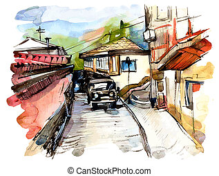 original watercolor painting on paper of old street of Gurzuf, Crimea, Ukraine, plein air painting, vector version