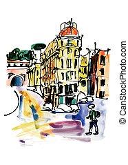 original watercolor sketch hand drawing of Rome Italy
