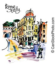 original watercolor sketch hand drawing of Rome Italy famous