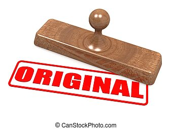 Original word with wooden stamp