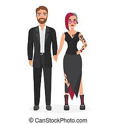 originale, carino, concetto, donna, carattere, vettore, coppia, uomo, appartamento, illustrazione