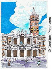 originale, pennarello, pittura, di, roma, italia, cityscape
