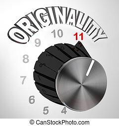 originalität, wählscheibe, knopf, gedreht, zu, maximum, -, innovativ, erfindung