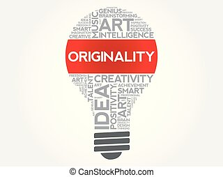 Originality bulb word cloud collage concept