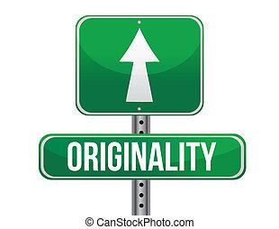 originality road sign illustration design over a white...