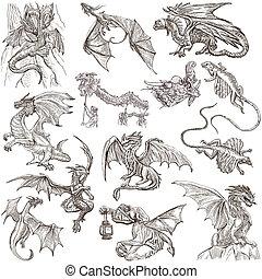originals, mão,  freehand, desenhado, Dragões, esboços