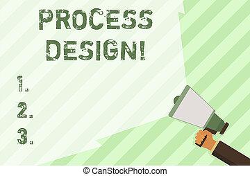 originar, largo, produto, conceito, palavra, negócio, viga, processo, texto, desenvolvendo, range., escrita, volume, estender, plano, segurando, em branco, mão, megafone, design.