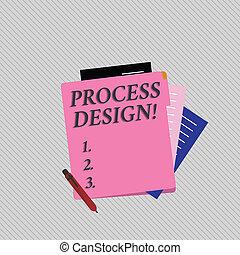 originar, pastel, produto, foto, coloridos, desenvolvendo, processo, texto, mostrando, vista, sinal, conceitual, papel, plano, em branco, papelaria, parcialmente, alinhado, folder., design.