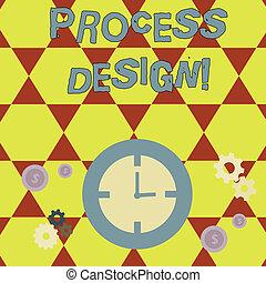 originar, roda, produto, gerência, engrenagens, ícones negócio, processo, foto, mostrando, desenvolvendo, relógio, escrita, showcasing, plano, dente, dollar., conceitual, mão, tempo, design.