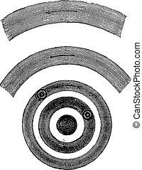 origine, planétaire, vendange, anneaux, nebulous, formation, condensation, engraving.