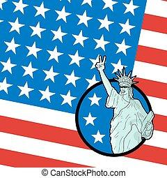 origineel, amerikaan, patriot, vlag