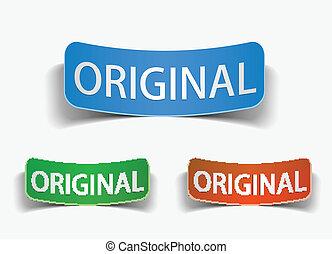 origineel, etiket, bevordering, vector, product