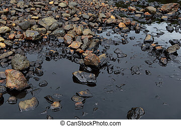orilla, aceite, mar, derramar