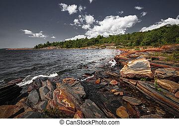 orilla, bahía, georgiano, rocoso