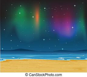 orilla, cielo, estrellas, mar, noche