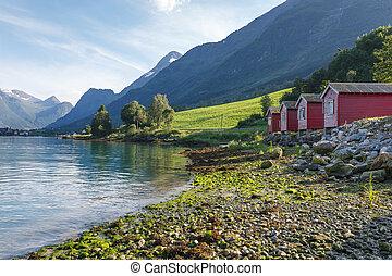 orilla, noruega, nordfjord, campamento