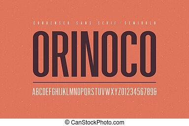 Orinoko condensed semibold san serif vector font, alphabet, ...