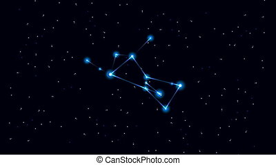Cartoon constellation of Orion in space.
