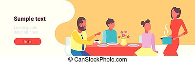 orizzontale, appartamento, servire, detenere, lei, famiglia, spazio, cibo, seduta, dinning, casalinga, cartone animato, caratteri, ritratto, tavola, colazione, copia, bambini, marito, felice