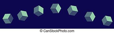 orizzontale, bandiera, cubi, seamless, isometrico