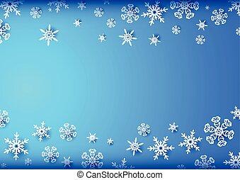 orizzontale, blu, cornice, con, fiocchi neve