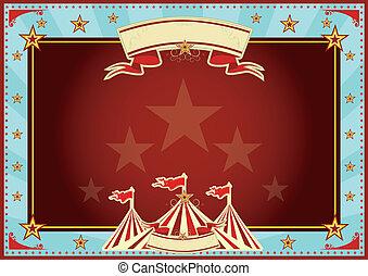 orizzontale, blu rosso, raggi sole, circo