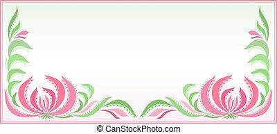 orizzontale, fondo, con, ramage, in, rosa, e, verde