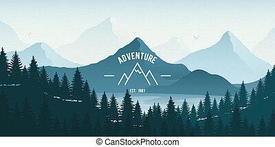 orizzontale, foresta, montagne., lago, paesaggio