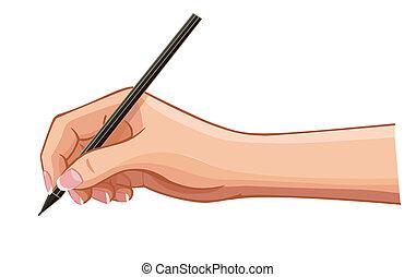 orizzontale, isolato, superficie, mano, penna, vettore, femmina, bianco, messaggio, ha scritto