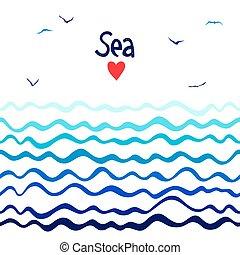orizzontale, marino, seamless, fondo, onde