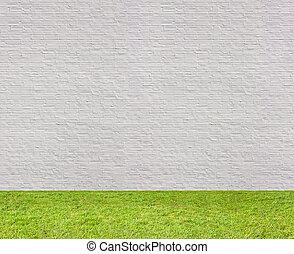 orizzontale, mattone, seamless, parete, prato, bianco